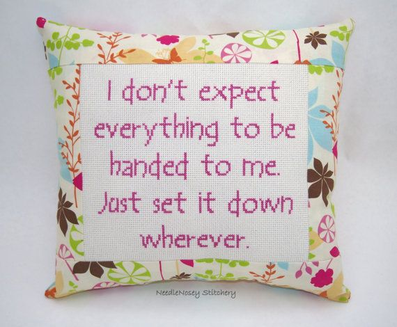 Funny Cross Stitch Pillow Floral Pillow Entitlement by NeedleNosey, $25.00