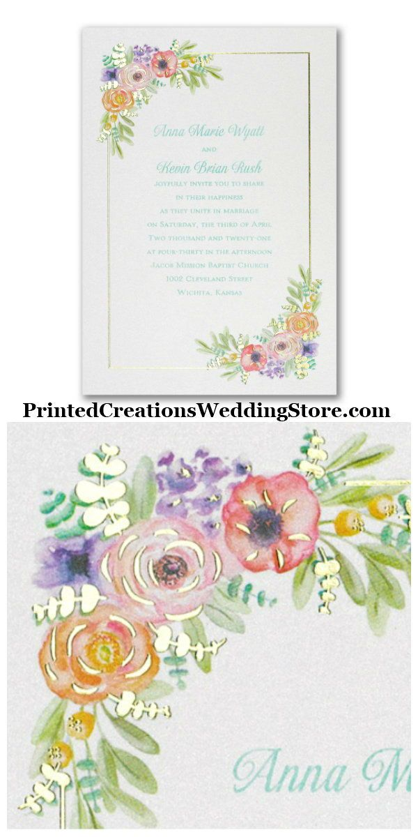 Watercolor Radiance Invitation Shiny Gold Foil Elegantly Cr