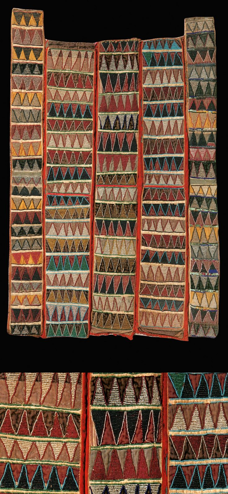 Africa | Glass bead embroidered cloth; five panels of velvet sewn together and embroidered with multicolured glass beads chevron pattern. | Yoruba people, Nigeria | Height 109 cm / 43 inch || 24,000€ ~ sold Sept '07