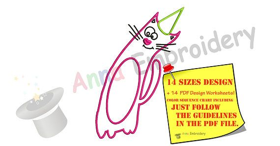 Party Cat Embroidery Design Kitty Silhouette Happy Gotcha