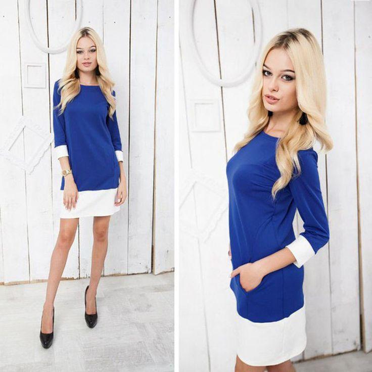 Nlw apparel 2015 gloednieuwe winter mode o hals jurk oversize 3/4 mouwen met dubbele pocket casual vrouwen jurken vestidos in    Noot:1. kunt u volgen strikt de maattabel om de grootte. Niet direct te selecteren op basis van uw  van jurken op AliExpress.com | Alibaba Groep