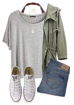 #summer #outfits / Greey Tee + Green Jacket