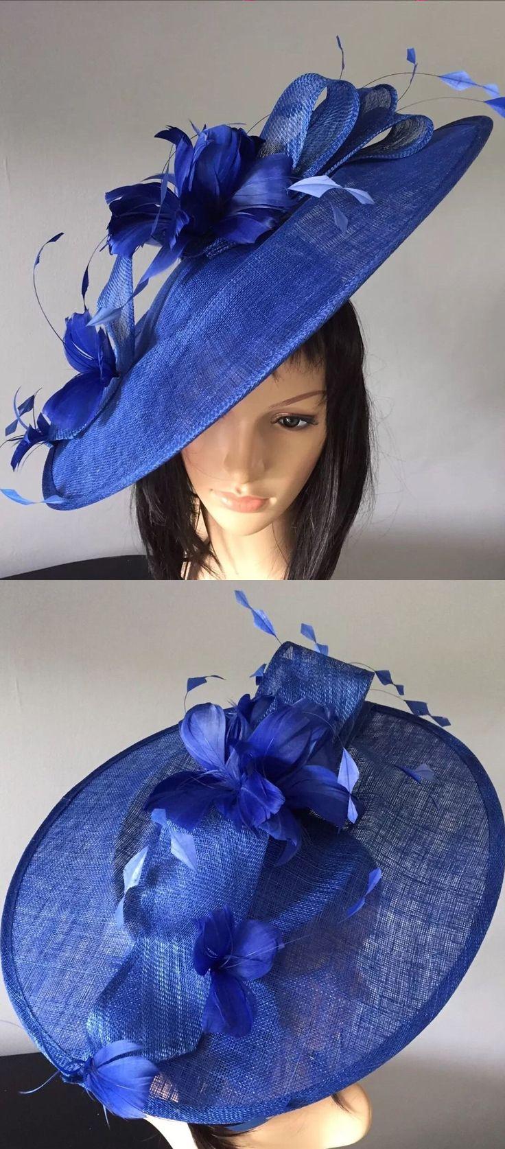 5a3db177930 Peter Bettley Royal Blue Large Feathered Saucer Slice Designer Hat  Fascinator Hatinator