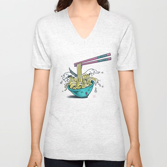 The Great Wave of Noodles with chopstick Unisex V-Neck by Claudio Nozza Art | Society6