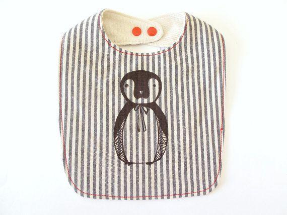 organic bib, striped, penguin, babies
