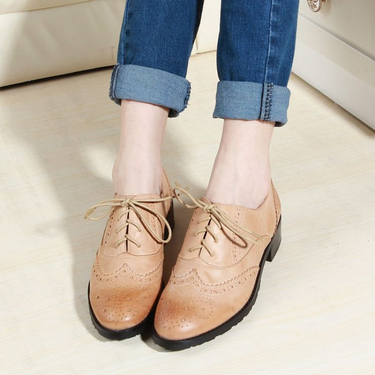 Handmade Vintage Shoes Brockden Carving Fashion Women's Shoes Single Shoes Oxfords For Women