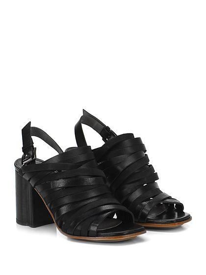 IXOS - Sandalo alto - Donna - Sandalo alto in pelle vintage con cinturino su retro e tomaia a multi fasce. Suola in cuoio e gomma, tacco 90. - NERO - € 240.00