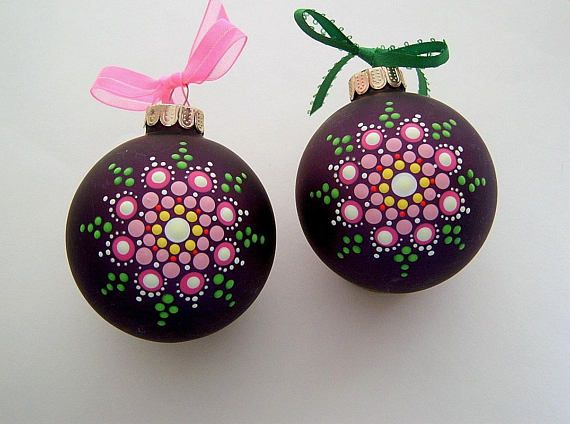 Hand painted glass Christmas tree ornaments-ooak mandala mauve