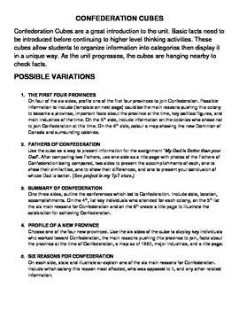 La Confédération / Canadian Confederation Ontario Grade 8 histoire / History Bilingual project outline, five variations