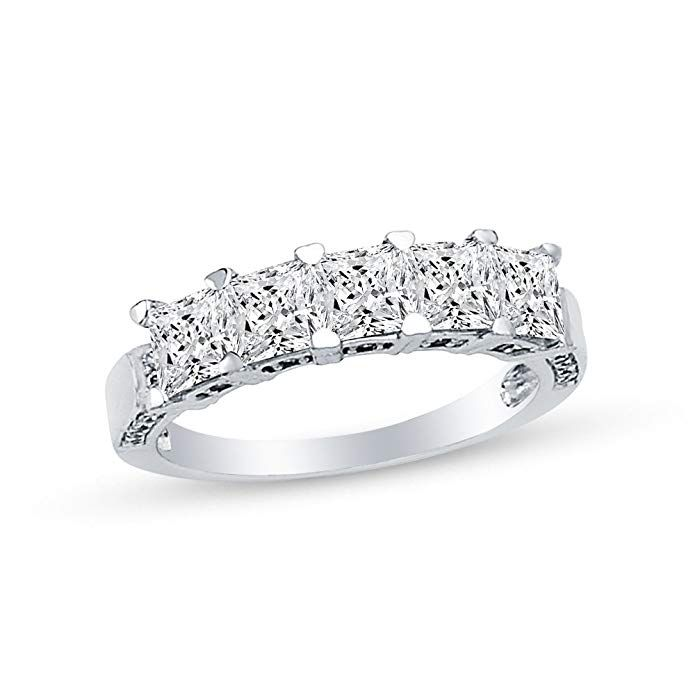 14k White Gold Highest Quality Cz Cubic Zirconia Ladies Wedding Band Ring Review Womens Wedding Bands Wedding Ring Bands White Gold