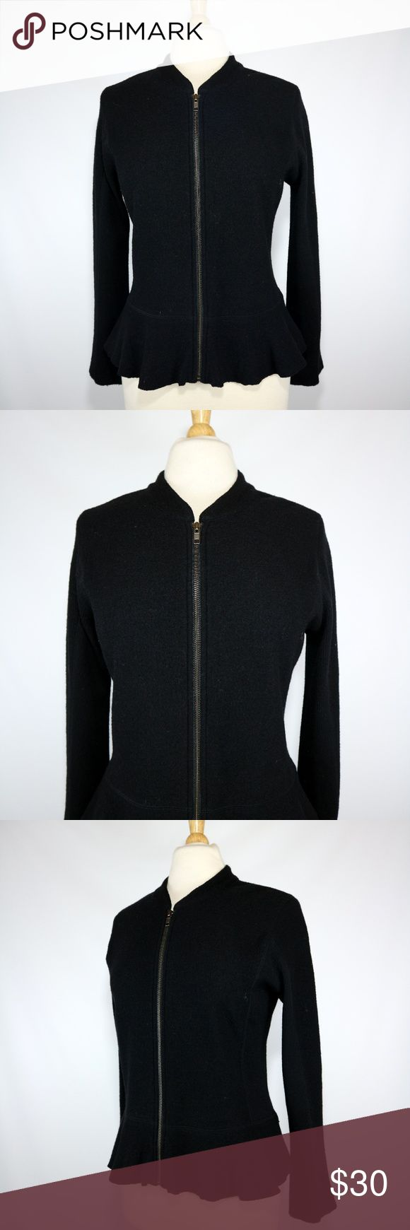 """Halogen Black Peplum Zip Up Cardigan Sweater Halogen women's black merino wool peplum style cardigan. Zips up the front. Size L Petite. Gently used. Clean. No issues to note.  20"""" armpit to armpit  15"""" shoulder to shoulder 23"""" sleeves (shoulder seam to cuff) 23"""" long (shoulder to bottom) Halogen Sweaters Cardigans"""