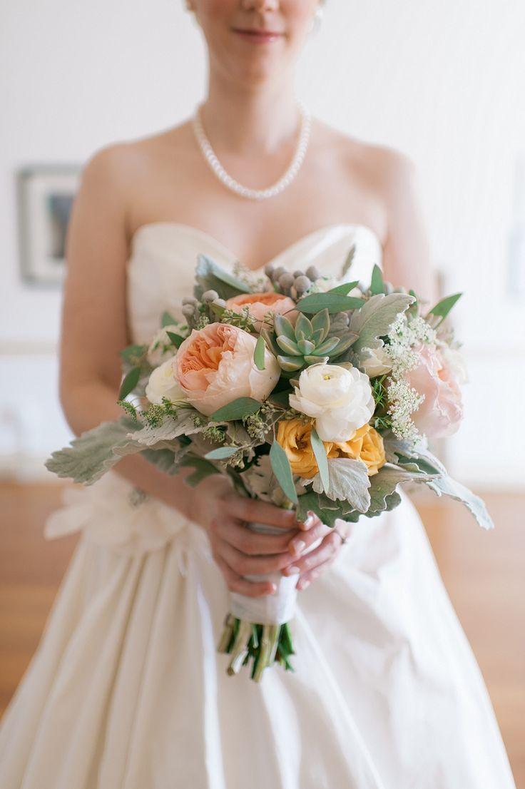 Stunning Bridal Bouquet With Peach And Soft Green Tones