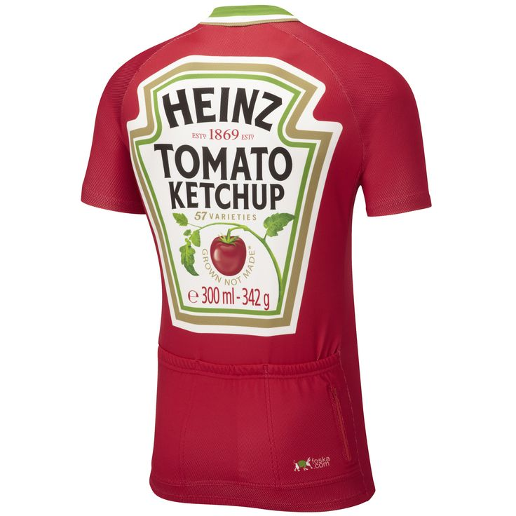 Heinz Tomato Ketchup, the perfect condiment to your bike. The kids Heinz Tomato Ketchup road cycling jersey, designed for having fun in style. High- performance, breathable Cool Plus fabric keeps you fresh and comfy