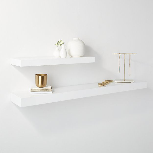 Calvin Hi Gloss White Floating Shelf 24 Cb2 White Floating Shelves Floating Shelves Bathroom Floating Shelves Bedroom