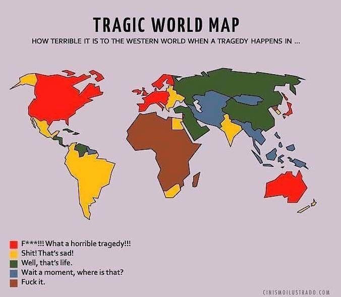 """The Mapamundi Tragico or """"Tragedy World Map"""" was first created by Mexican designer Eduardo Salles, in April 2015, but epitomises the way we feel about terror in nations distant from our own."""
