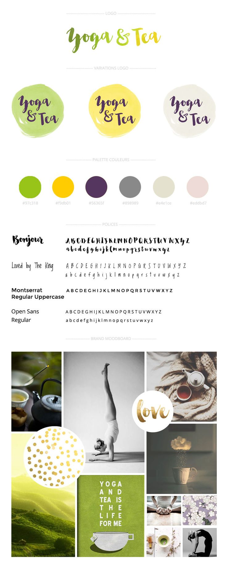brand board from the blog yoga & tea by @adelabulgarie - such a pretty color palette !