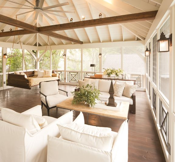 exposed rafter ceiling Nashville porch, Just take out the dark crossed beams  gorgeous...