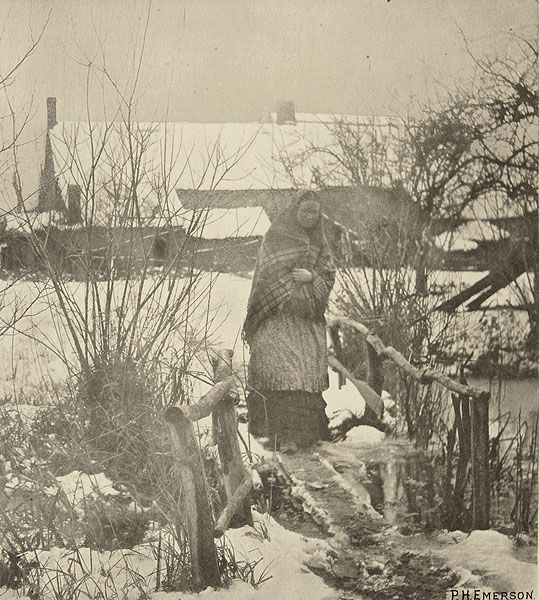 A Slipery Path - Winter Scene. EMERSON, PETER HENRY, b.1856-1936. Pictures of East Anglian life, 1888. 23.1 x 20.5 cm. Photogravure