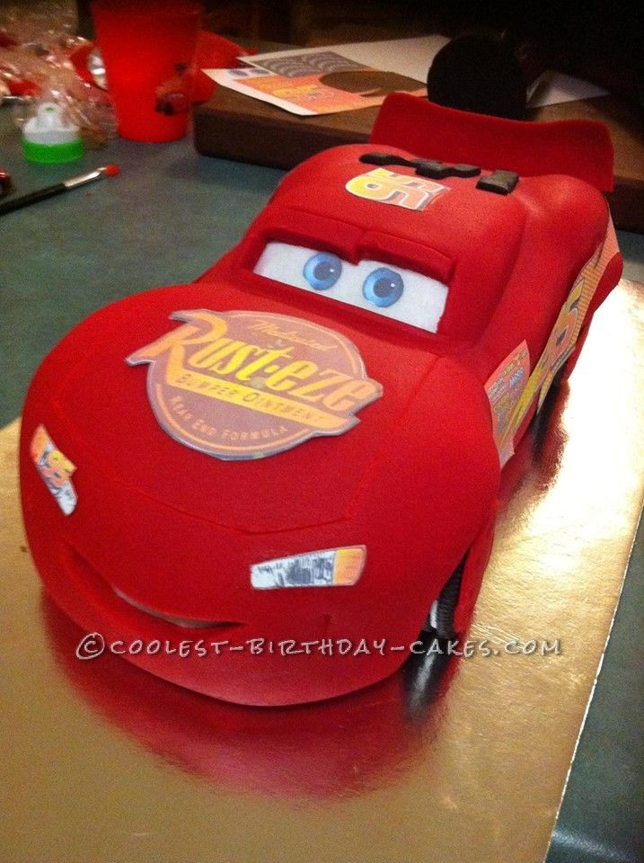 Cool Homemade Lightening Mcqueen Cars Birthday Cake