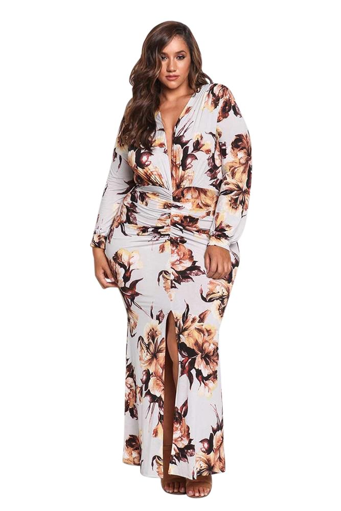 Shop Cheap White Plus Size Ruched Floral Plunge Maxi Dress for women online  sale. Free shipping worldwide. 4364fcad2