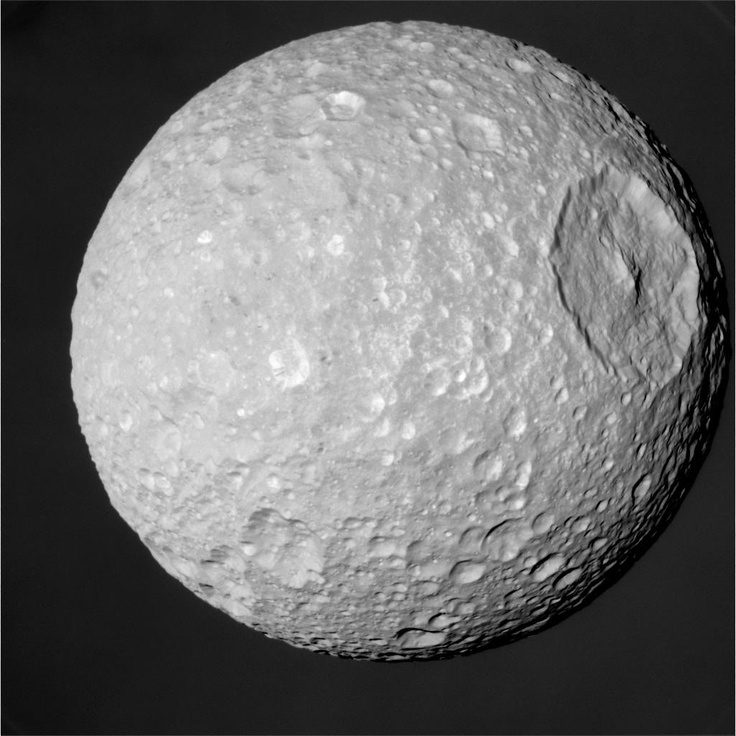Mimas is a moon of Saturn. It was discovered in 1789 by William Herschel, and was named after Mimas, a son of Gaia in Greek mythology. It resembles The Death Star of Star Wars.