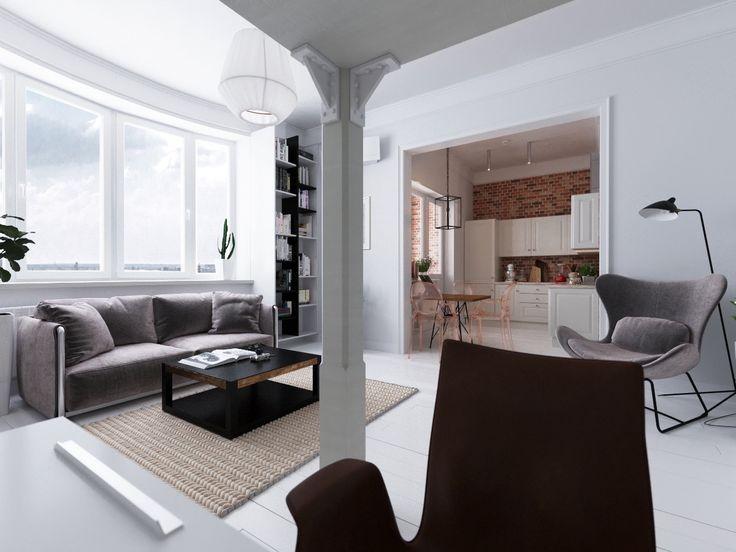 cadeiras cinzentas wingback pé lâmpadas minimalista sala de estar