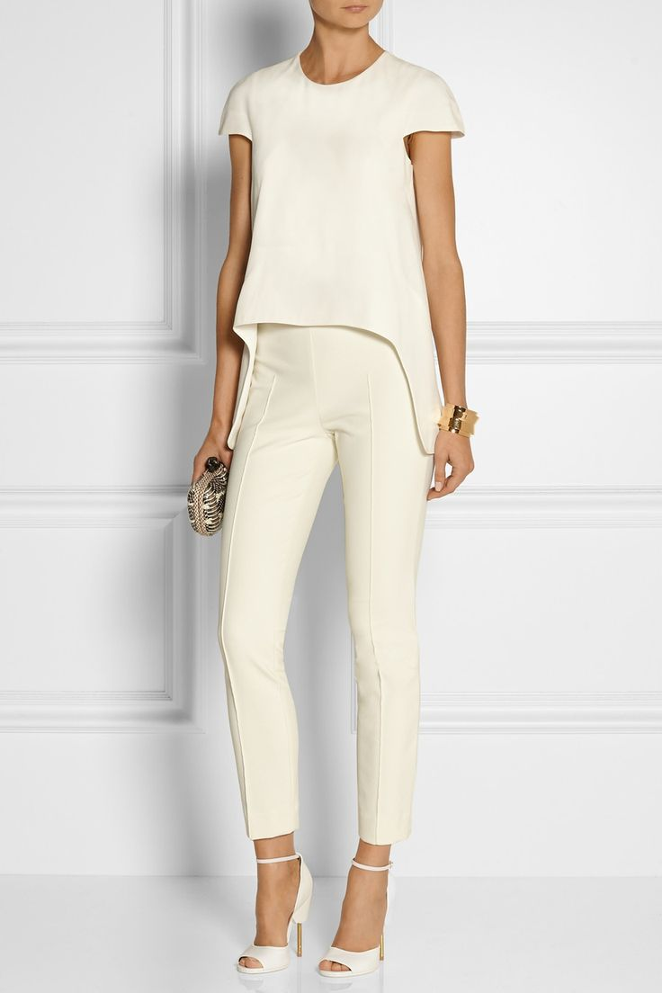 ALEXANDER MCQUEEN Asymmetric crepe top £670  THE ROW Shama stretch cotton-blend slim-leg pants £530  GIVENCHY Matilda sandals in white textured-leather £825