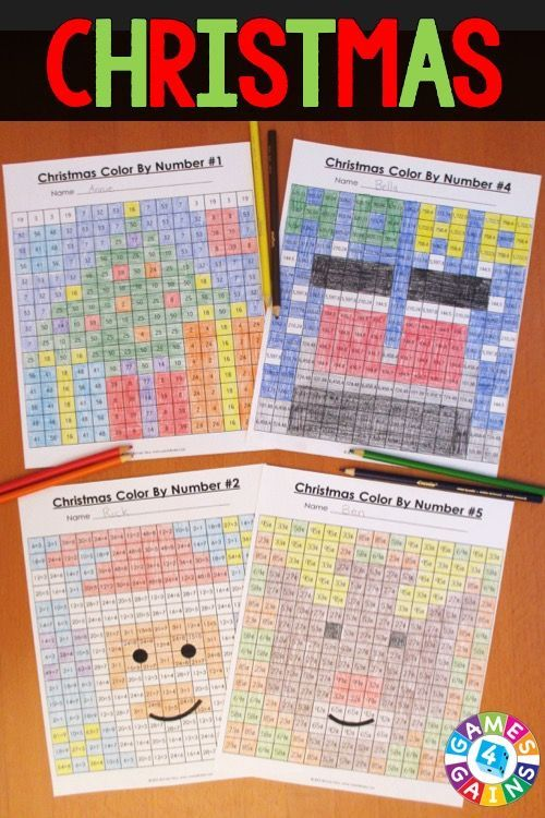 """These Christmas Math Color-by-Number activities are the perfect way to review key math skills this month! As one teacher said, """"My students loved the Halloween version of these activities! I used them as a """"Fun Friday"""" math activity, and they had a blast!"""" Available for 2nd, 3rd, 4th, or 5th grade."""