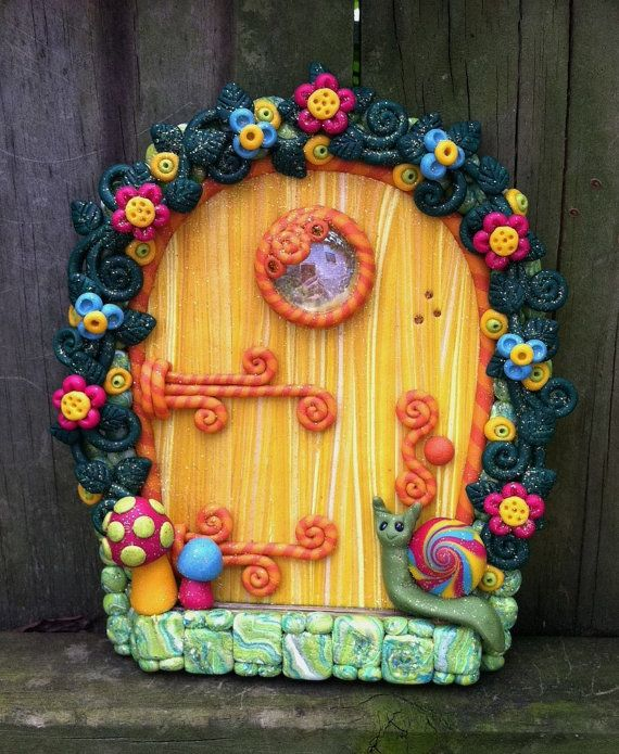 Tropical Citrus Fairy Door pixie portal in polymer clay by pinkchihuahuacrafts