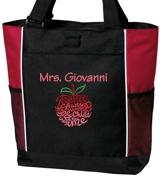 Personalized Teacher Tote Bag Embroidered with by TinasEmbroidery