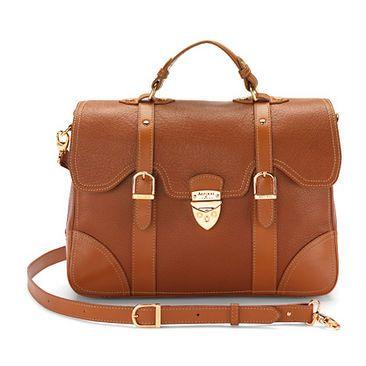 Mollie Satchel Handbag in Tan Pebble & Smooth London Tan