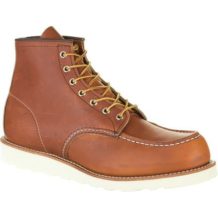 The Red Wing Heritage Classic Moc Boot was built with two things in mind: the safety and comfort of the workers who wore them. The Traction Tred rubber soles are built with minimal tread in order to help shed mud and dirt, while still maintaining the grip you need for varied job sites. Leather insoles and cork midsoles provide support and comfort, and become more comfortable over time as they mold to your feet.