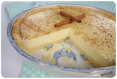 Milk Tart - One of South Africa's favorite desserts. It's a milk-egg-and-sugar dessert custard usually prepared in a round pastry shell.