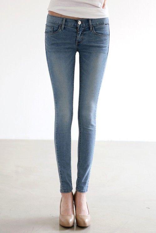 2014 Pies delgados Nueva Mujer Vaqueros Moda estilo coreano retro vintage azul clara flaco Denim Pantalones Lápiz-en Jeans de Ropa de Mujer y Accesorios en Aliexpress.com | Alibaba Grou