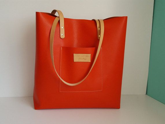 Orange Leather Tote bag Shopping tote Tote by HideAndChicHandbags