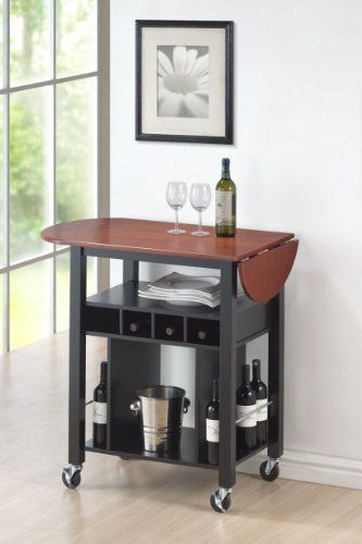 Roundhill Cherry Drop Leaf Wine Serving Cart on Wheels, Black by Roundhill, http://www.amazon.com/dp/B00BK7TZ1C/ref=cm_sw_r_pi_dp_JQ8ksb0RR4D86