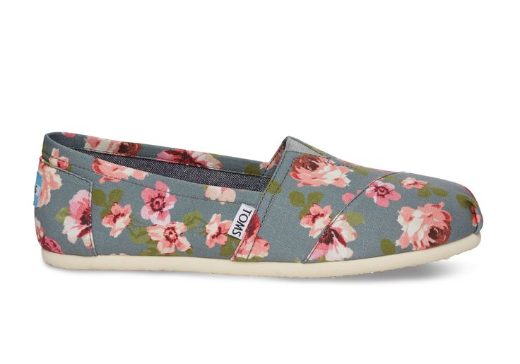 Navy and Grey Floral Women's Classics | TOMS