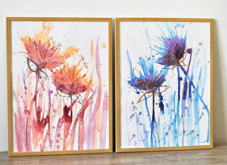 Абстрактные цветы, акварель.