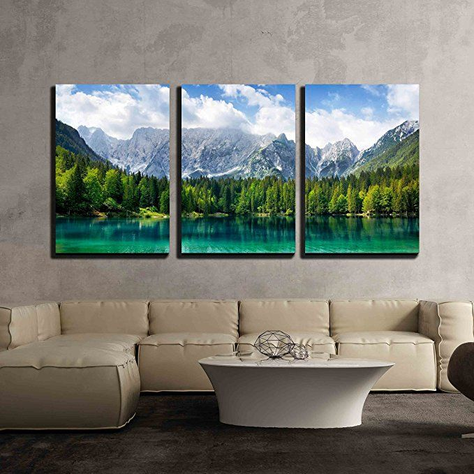Wall26 3 Piece Canvas Wall Art Beautiful Landscape With Turquoise Lake Forest And Mountains Modern Home Wall Art Pictures Wall Canvas Mountain Wall Art