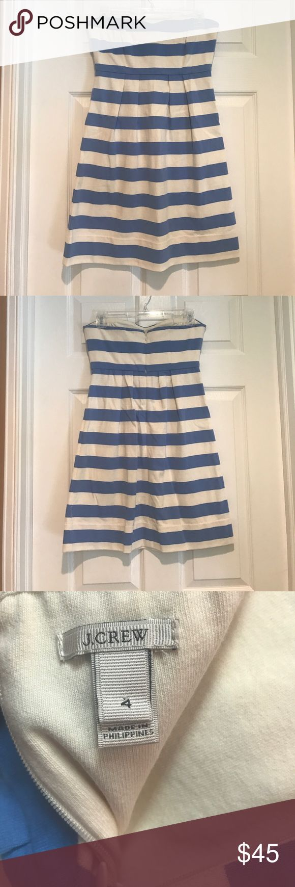J. Crew Striped Nautical Strapless Dress blue and cream strapless dress. 100% cotton and zips up the back. Super cute and comfy. Worn once J. Crew Dresses Strapless