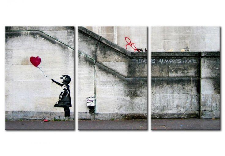 Ve cuadro Siempre hay esperanza (Banksy) - tríptico y otras decoraciones en la galería bimago - cuadros de pared, trípticos, reproducciones y impresiones en lienzo.