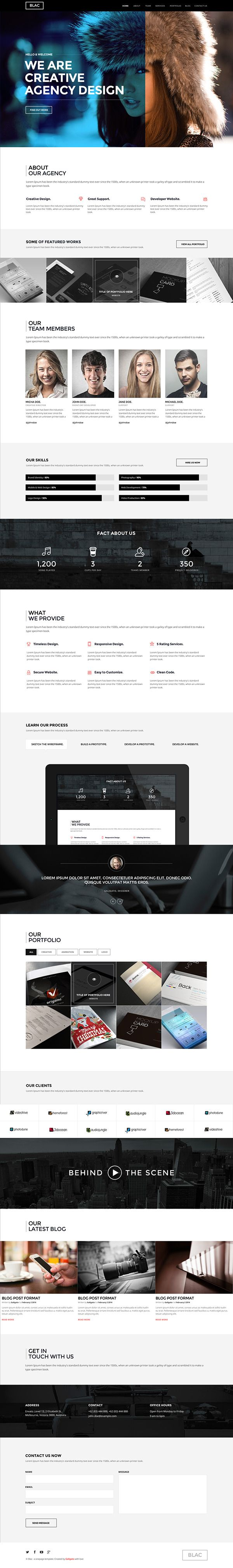 Blac - Ultimate Simple One Page PSD Template on Web Design Served