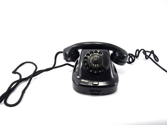 Black vintage dial telephone Vintage rotary phone rotary