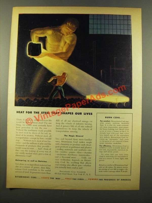 1946 Bituminous Coal Ad - Heat for the Steel