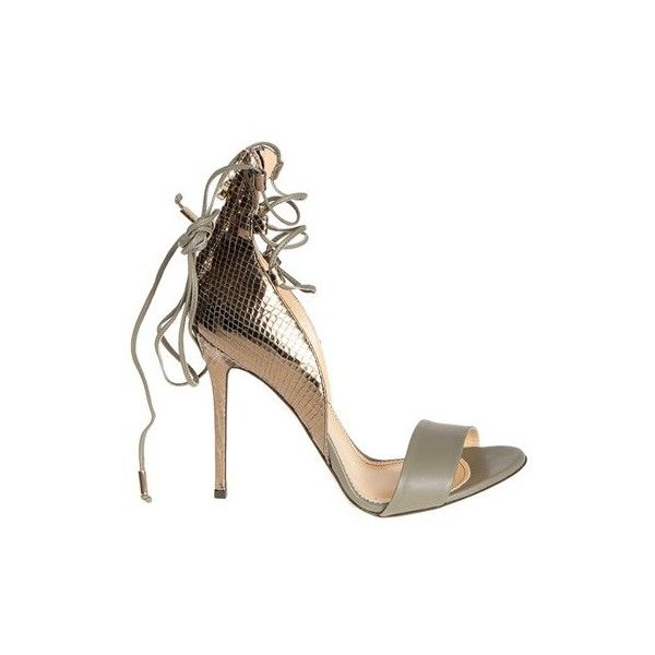 ELISABETTA FRANCHI Sandals ($396) ❤ liked on Polyvore featuring shoes, sandals, green leather shoes, green sandals, leather sandals, metallic high heel sandals and green high heel sandals