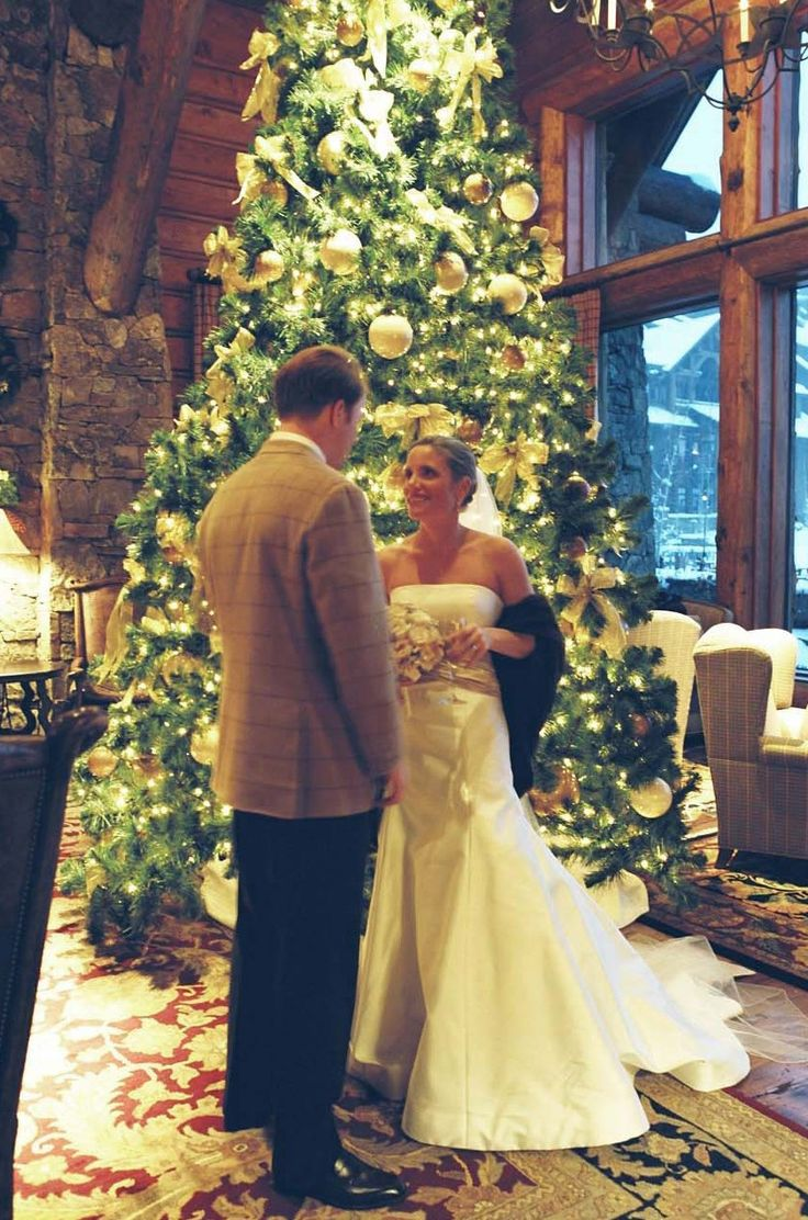 First See For Bride And Groom Next To The Christmas Tree At Ritz Carlton Beaver Creekcountry Weddingschristmas