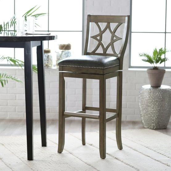 Belham Living Oliver Square Seat Swivel Extra Tall Bar Stool