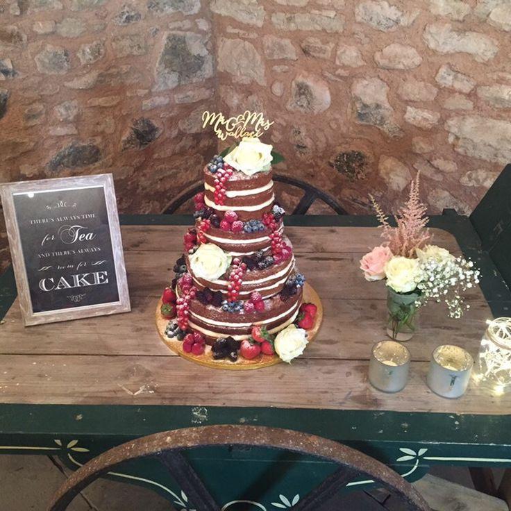 Cake table #tea #nakedcake #candles #peonies #weddingcake #wedderburnbarns