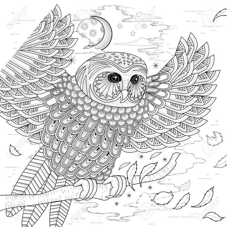 Mooie Uil Kleurplaat Ontwerp In Prachtige Stijl Royalty Vrije Cliparts, Vectoren, En Stock Illustratie. Image 46943615.