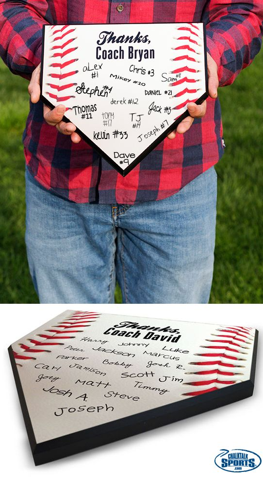 "Still trying to think of a great end-of-season gift for your awesome baseball coach? How about a ""Thanks Coach"" Baseball home plate that the whole team can sign!"